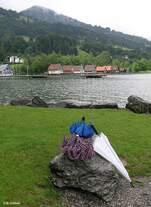 Blick über den Großen Alpsee bei (Immenstadt-) Bühl - ab und an benötigt man auch mal einen Regenschutz… (Oberallgäu - Sommer 2008)