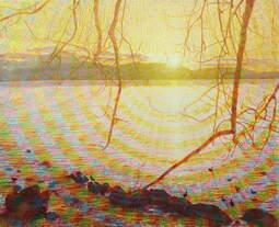 Nicht untergehende Sonne , Gemälde: Öl auf überklebter Leinwand, 2001, 130 x 160 cm; Mittsommersonne an einem See in Nordschweden...