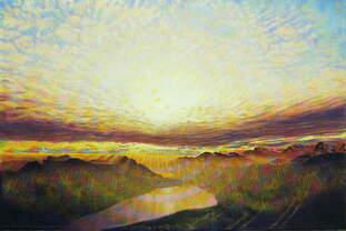 Abendsonnenstrahlen , Gemälde: Öl, Goldpastell auf überklebter Leinwand, 2003/2017, 80 x 120 cm; Blick vom Säntis in der Schweiz zur untergehenden Sonne, die von einer