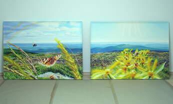 Das Paradies der großen kleinen Dinge , Diptychon (= 2 zueinander gehörende Gemälde): Öl, Ölpastell auf Baumwolle + Holz (-Rahmen), 2019 - 2020, zweimal 106,5 x 146 cm; Blick