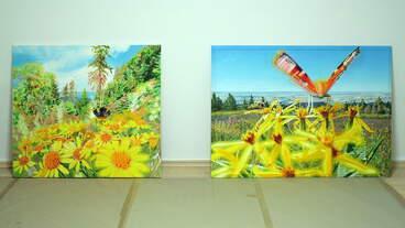 Der Natur ihre Freiheit , Diptychon, Gemälde: Öl, Ölpastell auf Baumwolle + Holz, 2020, 107 x 306 cm