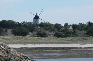 Windmühle am Hafen Port de Morin / Insel Noirmoutier.