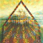 Sonnengarten , Gemälde: Öl, Gräser, Sand, Holz auf verstärkter Leinwand, 1996, 205 x 200 cm; Phantasie über Strand vom Jungfernsee in Potsdam...