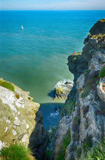 Blick auf Nose of Howth von Howth Cliff Walk - Irland.